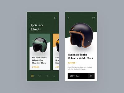 Helmet Shopping App concept design helmets open face helmet bell cafe racer racer vintage retro trending interface design ux uxdesign uidesign ui app design app shopping app helmet shopping helmet