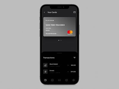 Card swipe animation application finance app finance banking cards ios design app concept minimal ux dailyui interactive interaction mobile ui swipe swipe right animation card