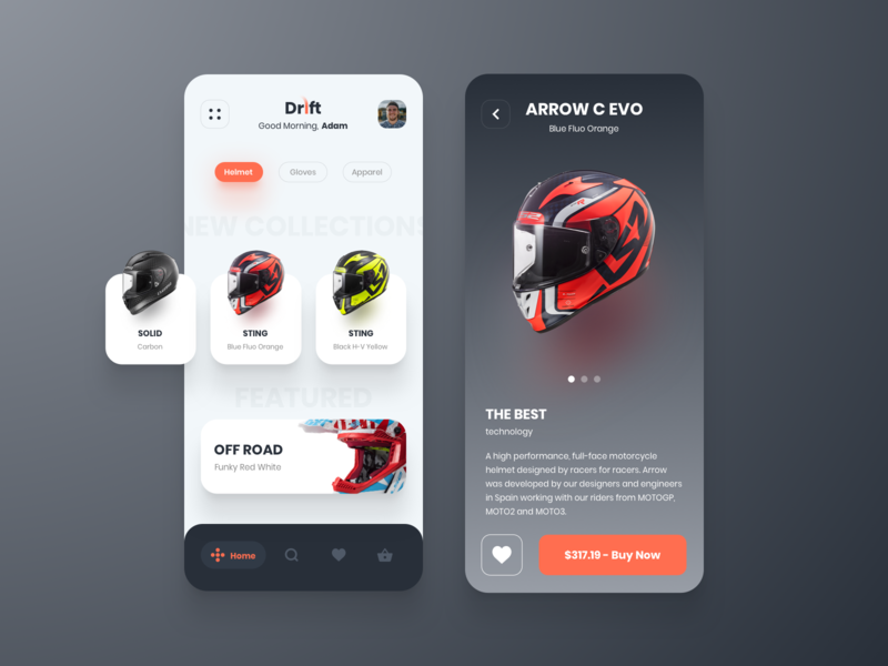 Drift - The Motorcycle Store cart products interaction design ecommerce dailyui concept ux ui drift minimal mobile app helmet biker shopping app