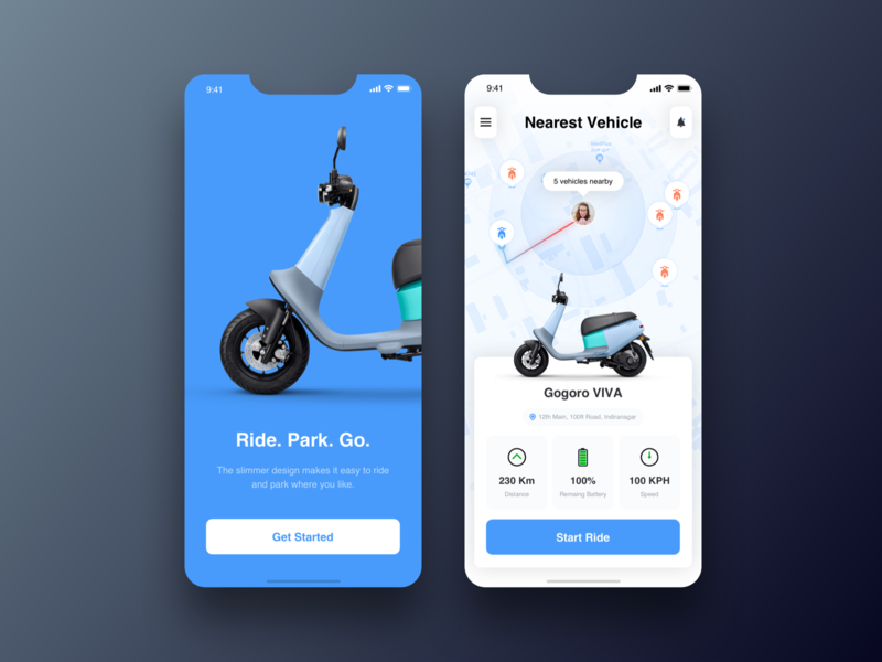 Gogoro concept application mobile app design local nearby electric minimal scooter rent bike rent scooter mobile app dailyui concept ux ui