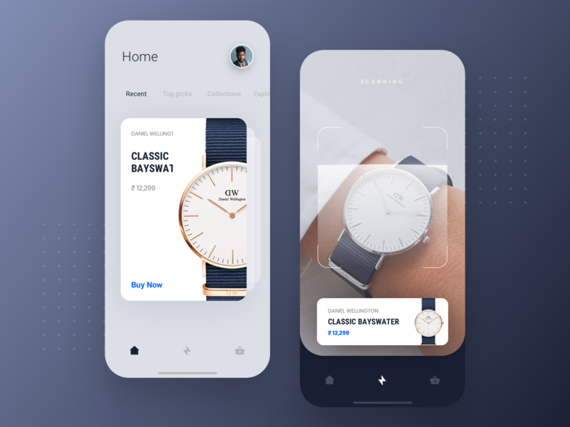 AR Based Shopping App ar interaction concept ecommerce online shopping scan minimal ios watch dailyui app design ux ui mobile