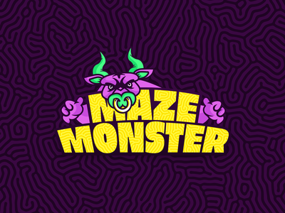 Maze monster logo labyrinth monster bull branding generator neon green yellow purple logo minotaur maze
