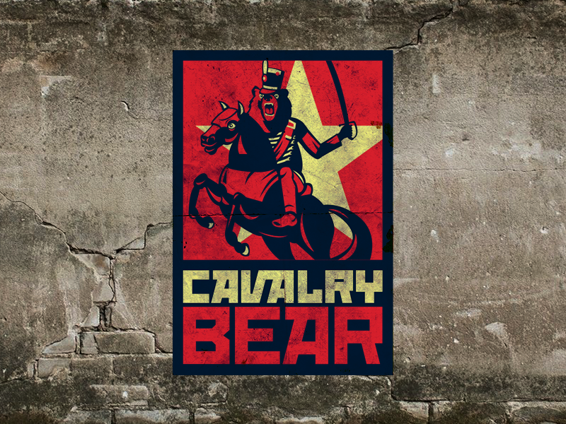 Cavalry Bear Brand composition propaganda horse star development argentina bear gaming russian yellow red blue soviet