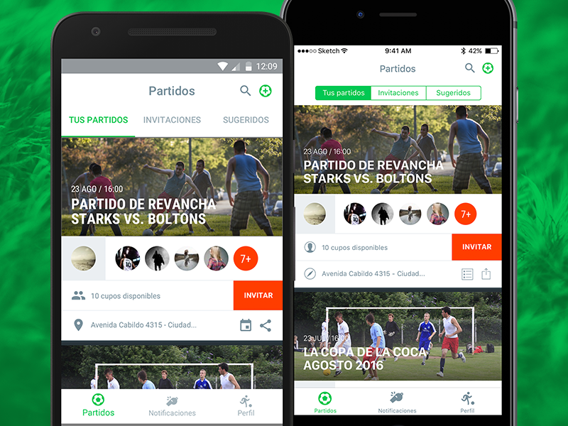 UI Exploration for a soccer match scheduling app friends amigos futbol android ios green orange argentina app soccer