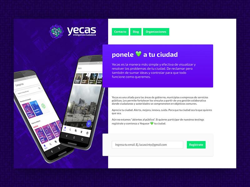 Yecas - Landing page mendoza logo improvement heart council corazon ciudadano city citizen branding argentina