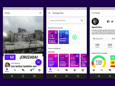 Yecas app for Android ciudadanos gobierno government citizen green purple android material design argentina mobile app yecas