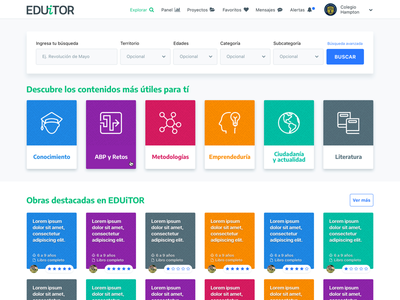 EDUiTOR - Explore page dashboard explore search color products website education school