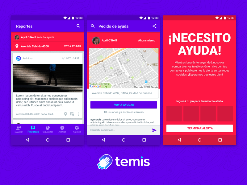 Temis for Android red phone awareness security safety purple app android