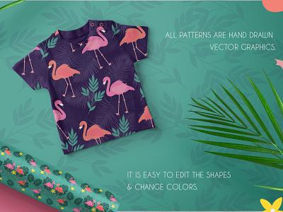 Tropical Flamingo Patterns summer tropical flamingos surface pattern design illustration surface design surface