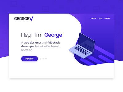 Personal website minimal illustration flat blue typography web design web ux ui portfolio design branding georgev