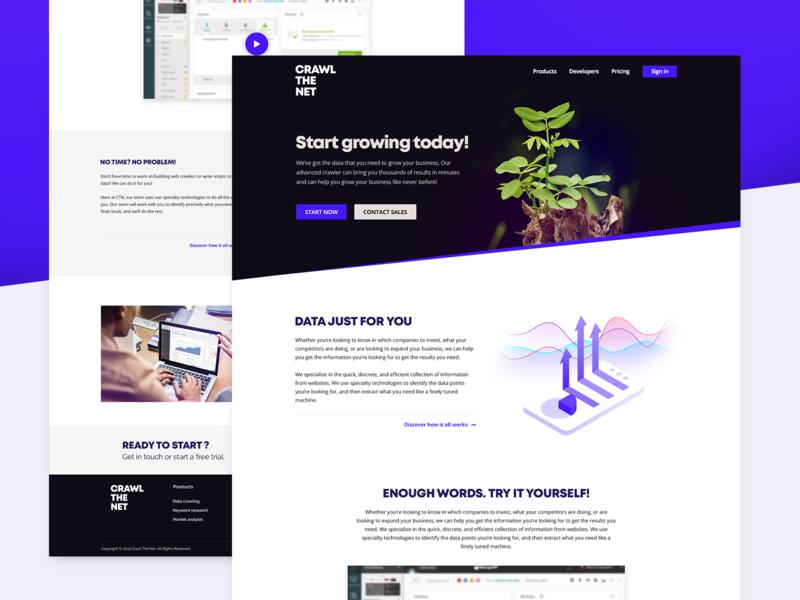 Crawl The Net Landing Page flat purple blue web design web ux ui landing page design georgev