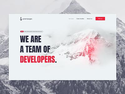 Potent Pages Landing Page minimal design landing page red ux ui web web design georgev