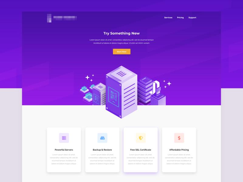Hosting Landing Page concept landing page purple illustration web ux ui design georgev web design