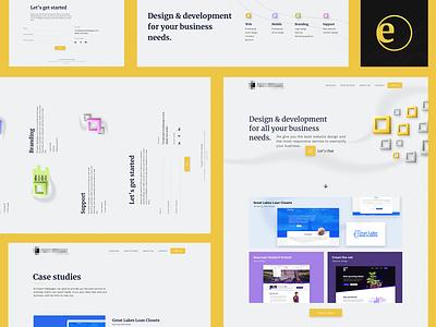 Design exploration for a creative agency logo website illustration branding concept landing page flat minimal yellow web design web ux ui georgev design