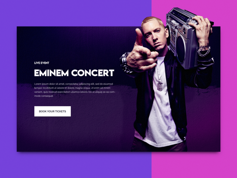 Eminem Concert Concept UI clean minimal landing page interface blue concept purple web design web ui ux georgev design