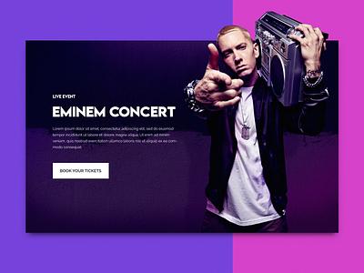 Eminem Concert Concept UI clean minimal landing page interface blue concept purple web design web ui ux georgev design