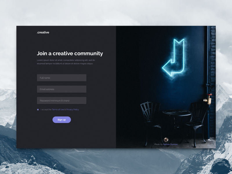 Sign Up Page Concept UI dailyui sign up page interface clean purple blue web typography flat design concept minimal web design ux ui georgev