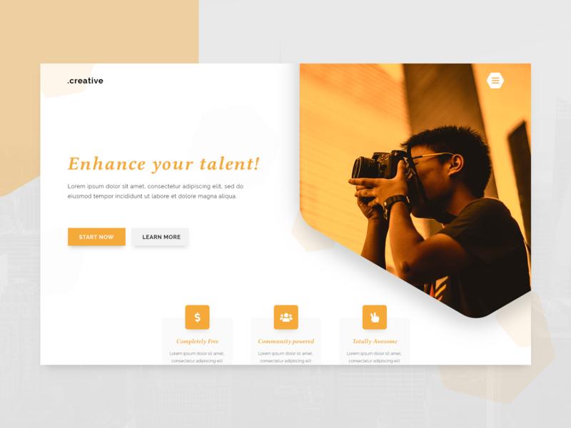 Photography Landing Page Concept flat clean orange yellow dailyui interface web landing page concept minimal web design ux ui design georgev
