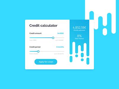Credit Calculator Concept UI card light blue widget dailyui interface clean blue flat concept minimal ux ui georgev design