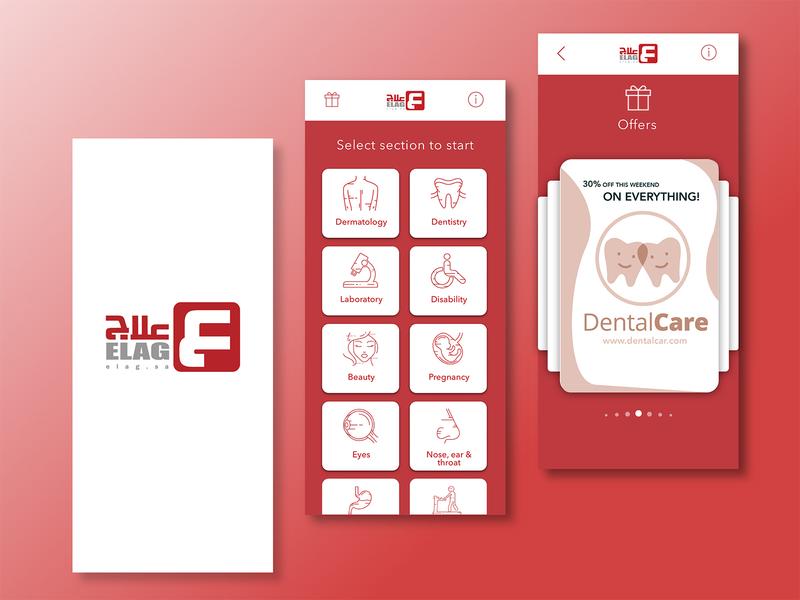 Elag medical services App available re design sa medical medical app new modern red redesign ui ux design app
