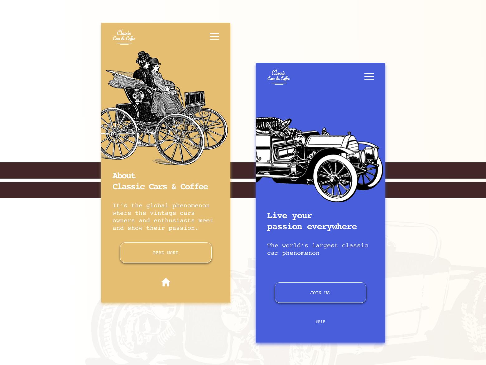 Vintage cars & coffee app blue yellow simple classy cars classic vintage ux vector ui concept design app