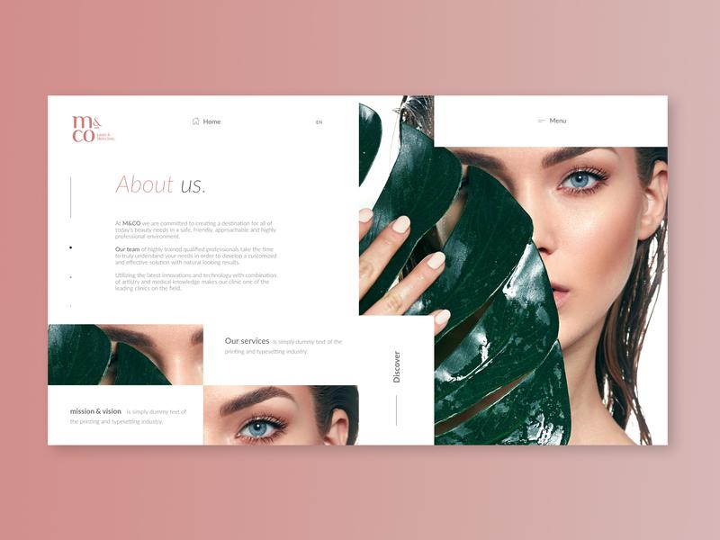 M&CO beauty agency website laser makeup skin care simple webpage modern design ui