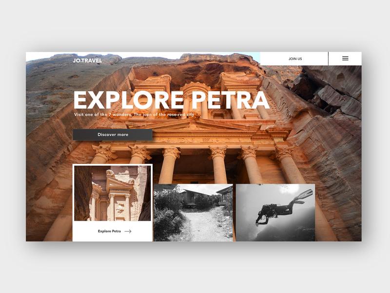 JoTravel - Petra websites tourism travel modern animation simple ui design
