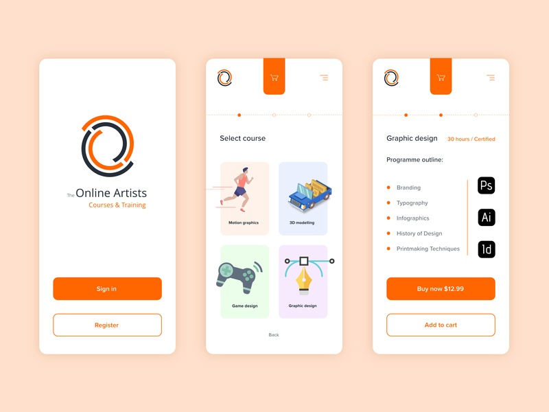 Online courses app typography illustration white orange courses online logo vector simple concept app modern design ux ui