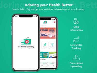 Medicine Delivery Application medicine delivery app medicine delivery delivery app mobile application delivery medicine typography vector illustration mobile app app ux ui design