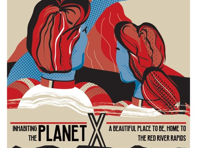 Living On Planet X poster vector illustration