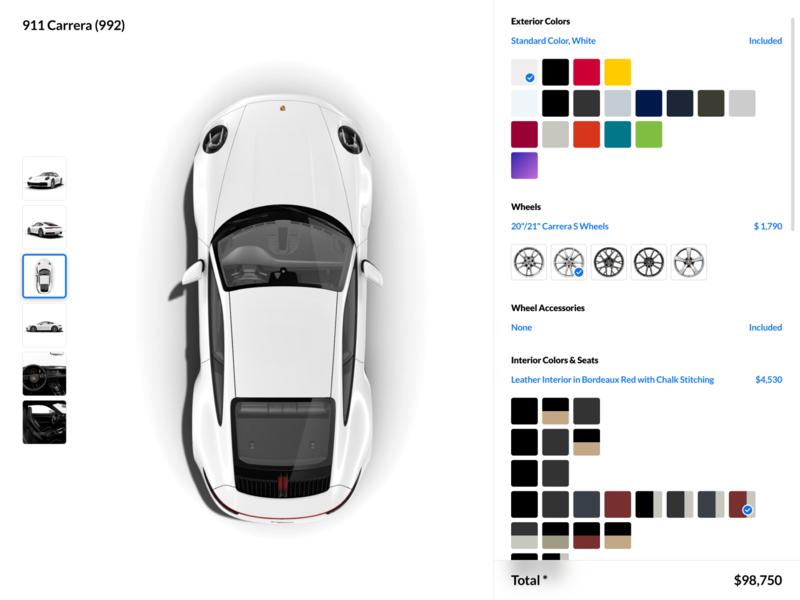 Porsche 911 Carrera (992) Customization UI