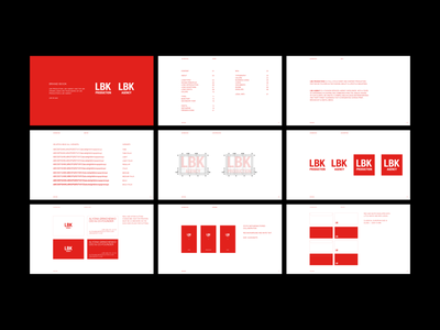 LBK Production & LBK Agency brand book template minimal clean fashion branding red typography brand identity logo
