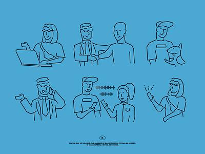Dallas Illustrations clubhouse dog laptop conversation phone blue linear character digital vector design illustration