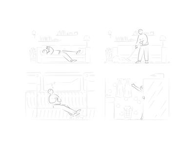 Part of Matt Illustrations kapustin phone subway sleep shower cleaning hand drawn stroke linear outline character digital vector design illustration
