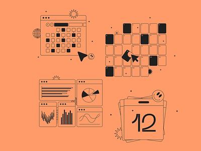 Calendars & graphs illustrations fromTokyo Illustrations 2.0⛩ linear outline digital vector design illustration kapustin tokyo planning day calendar graphs