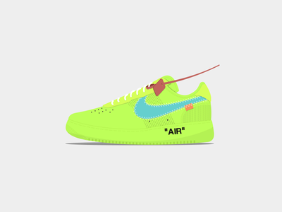 Nike Air Force 1 x Off-White abloh virgil sneakers shoes vector design illustration off-white force air nike