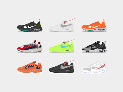 Sneakers Collection /4/ force air vector sneakers off-white nike mercurial illustration design adidas abloh virgil