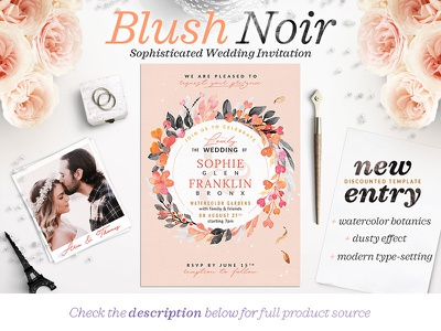 Blush Noir Wedding Invite V logo monogram wedding invitation wedding illustration wedding design illustration watercolor pastel dark noir wedding blush