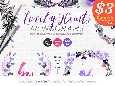 Lovely Hearts Monograms III love heart design png feminine dark violet purple logo monogram wedding