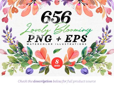 656 Lovely Blooming Hearts Greenery greenery design illustration watercolor card wedding feminine logo floral spring heart bloom