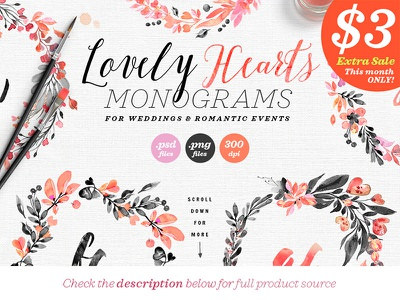 Lovely Hearts Monograms IV logo monogram wedding invitation wedding illustration wedding design illustration watercolor pastel dark noir wedding blush