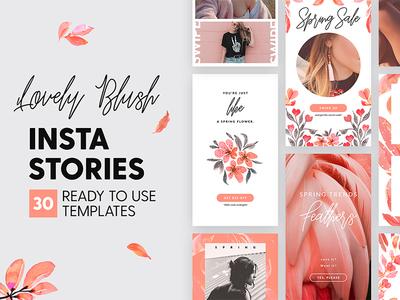 Instagram Stories - Lovely Blush Ed. apparel blogger social media blog fashion branding blush rose template story instagram insta story
