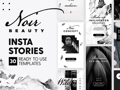 Instagram Stories - Noir Beauty Ed. apparel blogger marketing blog fashion branding social media black template story instagram insta story