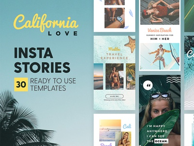 Instagram Stories - California Love apparel tropical social media blog fashion branding beach california template instagram story insta