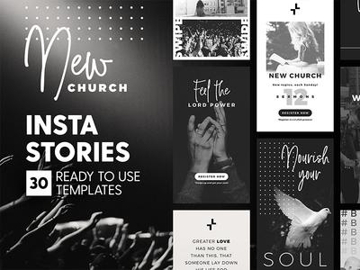 Instagram Stories - New Church Ed black modern social media minimal event branding religion church template instagram story insta