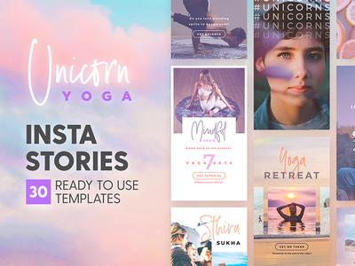 Instagram Stories - Unicorn Yoga Ed ultra violet branding template instastories lifestyle spa beach tropical dreamy unicorn yoga instagram