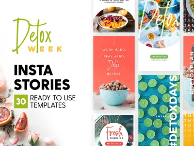 Instagram Stories - Detox Week Ed health food detox blogger marketing blog branding social media template story instagram insta story
