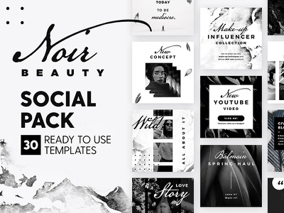 Noir Beauty - Social Pack clean minimal fashion blogger marketing blog branding social media template instagram post
