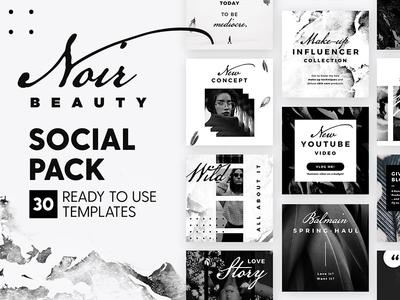 Noir Beauty - Social Pack clean minimal fashion blogger marketing blog branding social media template instagram post
