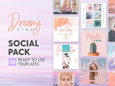 Dreamy Vibes - Social Pack pastel tropical vibe dream marketing blog branding social media template instagram post design